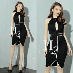 Đầm body khoét viền màu H2
