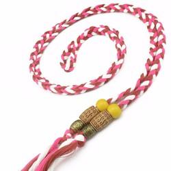thắt lưng dây bện sọc kiểu màu giống kẹo treo hạt gỗ đẹp
