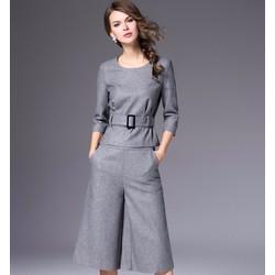Sét áo dạ và quần lửng ống rộng hàng cao cấp 2016 - T6037