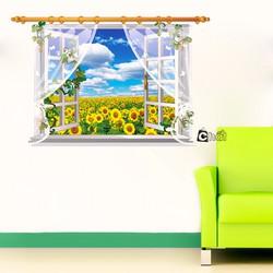 Decal Dán Tường 3D Cửa Sổ Hoa Hướng Dương