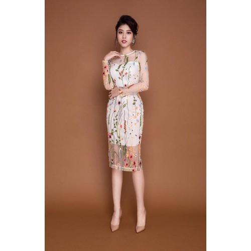 Đầm Ren Hoa Thêu Tay Dài Cao Cấp - DXM428