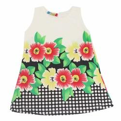 Đầm thun chữ A chấm bi hoa cho bé gái 2 đến 9 tuổi Tri Lan
