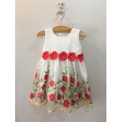 Đầm công chúa ren chân hoa hồng