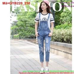 Quần yếm jean dài rách sắn lai nữ tính QYB220