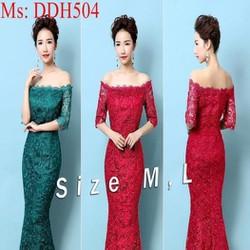 Đầm maxi bẹt vai ngang xinh đẹp vải ren hoa sang trọng DDH504