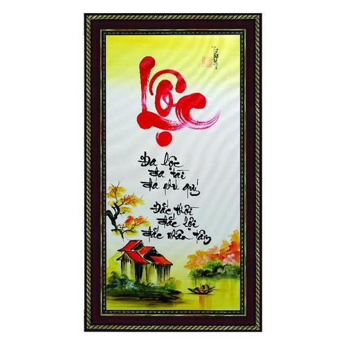 Tranh thư pháp vẽ tay Chữ Lộc