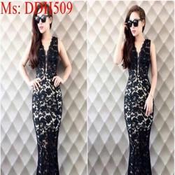 Đầm maxi đuôi cá cổ V vải ren đen sang trọng cao cấp DDH509