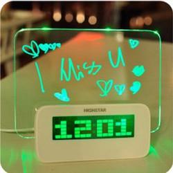 Đồng hồ để bàn kèm bảng ghi nhớ phát quang đèn LED