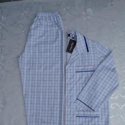 Pyjama nam tay dài vải kate caro