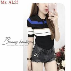 Áo len nữ ngắn tay kiểu cổ bẻ phối sọc màu nổi bật AL55