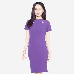 Áo váy đầm len mỏng dáng form dài midi ngắn tay cổ tròn ZENKO 0062 P