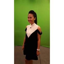 đầm suông thiết kế trắng đen