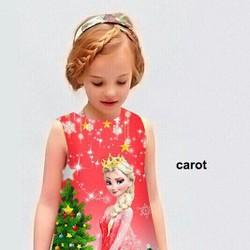 Đầm in 3D Elsa vui Noel trên chất liệu Cát Hàn tuyệt đẹp