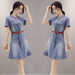 Đầm Jean Cổ Trụ Phối Nút Dọc
