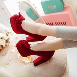 Giày gót vuông bít mũi đính nơ - LN762
