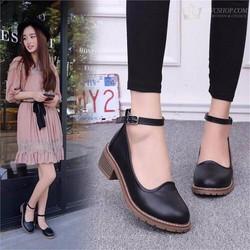 Giày oxford nữ da cổ thấp giá rẻ màu đen