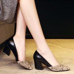 Giày gót vuông phối da rắn thời trang - LN768