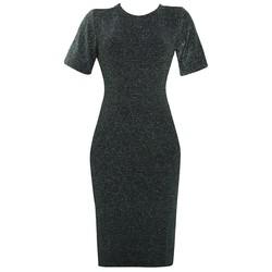 Áo váy đầm len mỏng dáng form dài midi ngắn tay cổ tròn DAM 0068 B