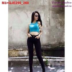 Quần Jean nữ lưng cao màu đen phối 1 nút sành điệu QJE290