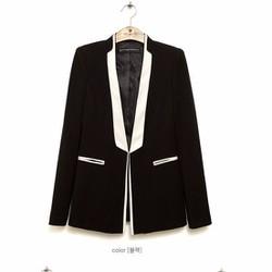 Áo vest nữ phối màu cổ nắp túi thời trang-Vest054