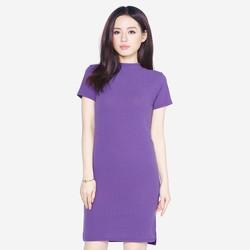 Áo váy đầm len mỏng dáng form dài midi ngắn tay cổ tròn ZENKO 0061 P