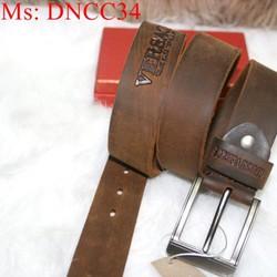 Thắt lưng nam xỏ kim da bò dập nổi logo VS sành điệu DNCC34