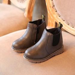 [6-11 tuổi] Giầy boot da màu chì cao cấp cho bé