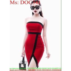 Đầm ôm cúp ngực đỏ và xẻ đùi phối viền đen sành điệu DOC341