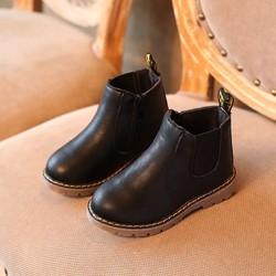 [6-11 tuổi] Giày boot da cao cấp màu đen cho bé