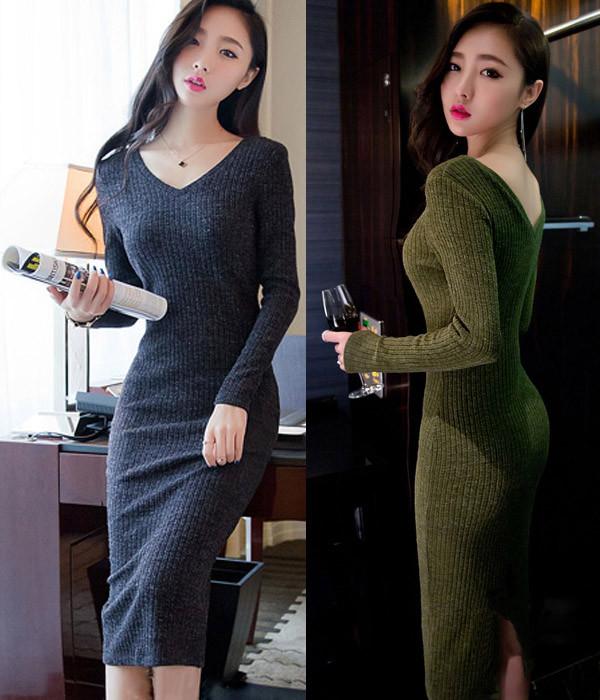 Đầm body len sang trọng 1