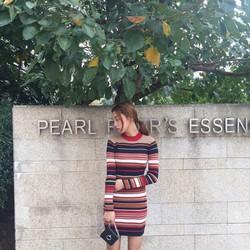 Váy len ôm kẻ ngang - Hàng Quảng Châu