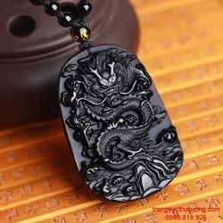 Vòng cổ mặt đ á Obsidian khắc rồng