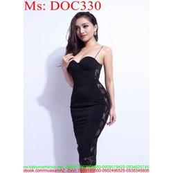 Đầm ôm dự tiệc 2 dây phối ren lưới 2 bên sành điệu sang trọng DOC330