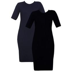 Bộ 2 Áo váy đầm len mỏng dáng form dài midi ngắn tay cổ tròn ZENKO