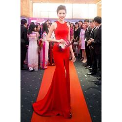 Áo đầm dạ hội màu đỏxẻ giữa như Á Hậu Thúy Vân M31081