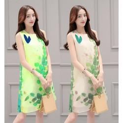 Đầm suông họa tiết lá cao cấp