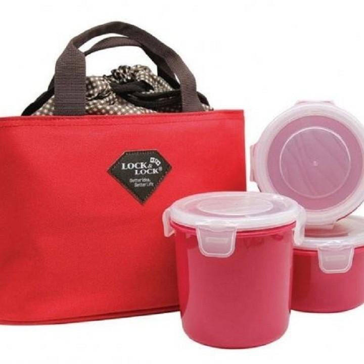 Bộ hộp cơm3 hộp cơm kèm túi giữ nhiệt Lock Lock 1