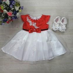 [Hàng thiết kế] - Đầm CC thêu hoa đính nơ eo