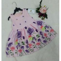 Đầm xòe họa hồng xinh xắn cho bé gái