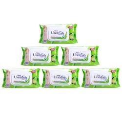 Combo 6 gói khăn ướt Unifresh,80miếng*6 Nha đam Aloevera