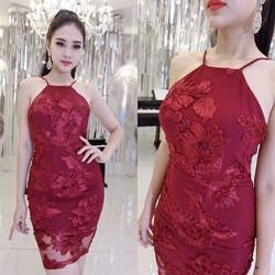Đầm body cổ yếm lưới thêu hoa - A27947