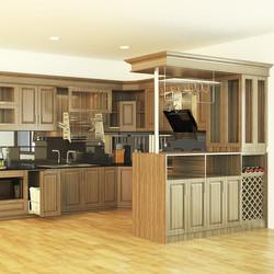 Tủ bếp gỗ Óc Chó có tủ rượu kết hợp quầy bar