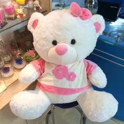 Gấu bông teddy ngồi áo nón hồng size 65cm