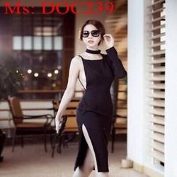 Đầm body đen thiết kế 1 tay dài và dây sành điệu thời trang DOC239