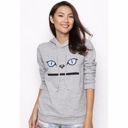 Áo Hoodie nữ thêu họa tiết Mèo - Xám