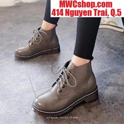 Giày boot nữ cổ cao màu xám giá rẻ thời trang