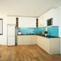 Tủ bếp Kết hợp thùng dưới Veneer thùng trên HDF sơn 2k
