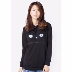 Áo Hoodie nữ thêu họa tiết Mèo - Đen