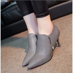 Giày boot cao gót mũi nhọn cổ ngắn