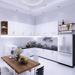 Tủ bếp Acrylic tận dụng không gian tối đa phòng bếp nhỏ